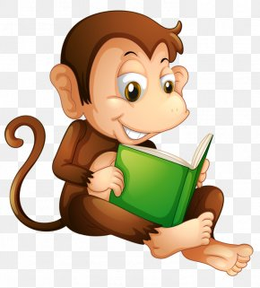 Reading Monkey - Reading Book Clip Art PNG