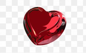 Red Glass Heart - Heart Valentine's Day Desktop Wallpaper PNG