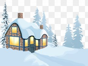 Winter House And Snow Clipart Image - Winter House Clip Art PNG