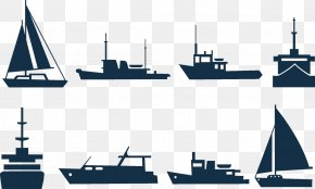 Sailing Ship Silhouettes - Sailing Ship Boat Clip Art PNG