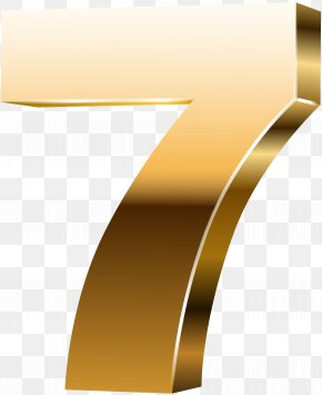 Number Seven 3D Gold Clip Art Image - Yellow Font Angle Design PNG
