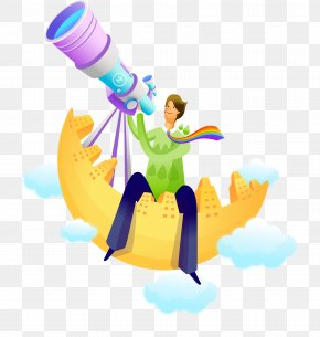 A Man With A Telescope - Stock Illustration Cartoon Royalty-free Illustration PNG
