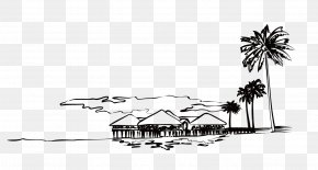 Hand-painted Building - Black And White PNG