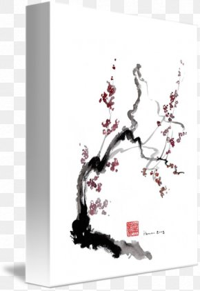 Red Cherry Blossoms - Cherry Blossom Ink Wash Painting Japanese Art PNG