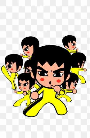 A Group Of Bruce Lee's Cartoon Characters - Cartoon Download Comics Illustration PNG