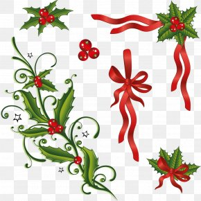 Hand-painted Christmas Elements - Common Holly Leaf Berry Clip Art PNG