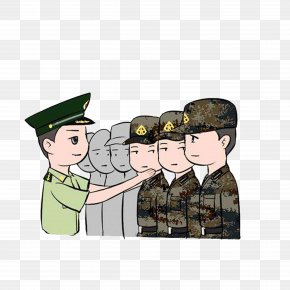 The Instructor Corrected The Incorrect Military Posture - Military Cartoon Drawing Animation Illustration PNG