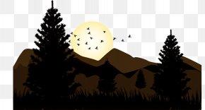 Sunrise Landscape Vector Illustration - Euclidean Vector Silhouette Illustration PNG