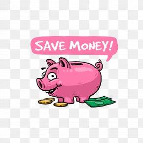 Cartoon Pink Piggy Bank - Money Saving Piggy Bank Clip Art PNG