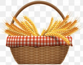 Autumn Basket With Wheat Clip Art Image - Wheat Computer File PNG