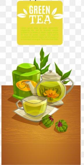 Creative Green Tea Drinks Banner Vector Material - Green Tea Breakfast Drink PNG