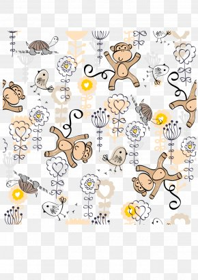 Monkey Cartoon Background Vector - Cartoon Monkey Clip Art PNG