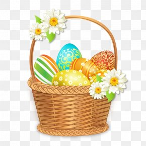 Beautiful Easter Basket With Colorful Eggs - Easter Egg Easter Basket PNG