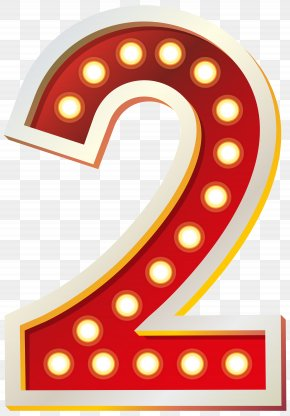 Red Number Two With Lights Clip Art Image - Number Clip Art PNG
