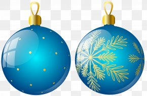 Transparent Two Blue Christmas Balls Ornaments Clipart - Christmas Ornament Christmas Decoration Clip Art PNG
