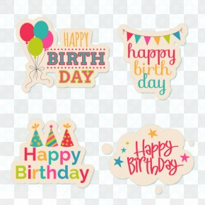 Happy Birthday Cartoon Tags - Birthday Cake Paper Party PNG