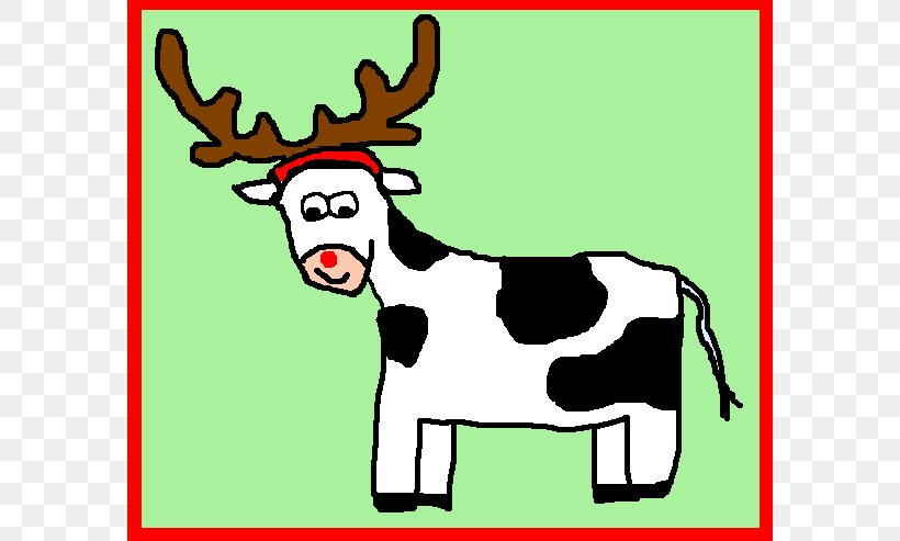 Reindeer Cattle Christmas Santa Claus Clip Art, PNG, 588x493px, Reindeer, Antler, Art, Cartoon, Cattle Download Free