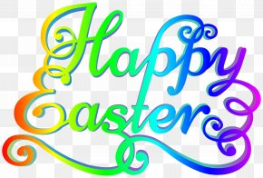 Rainbow Happy Easter Transparent Clip Art Image - Easter Clip Art PNG