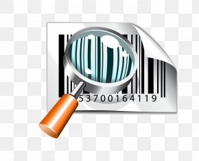 Magnifying Glass And Barcode - Microsoft PowerPoint Template Barcode Presentation Slide PNG