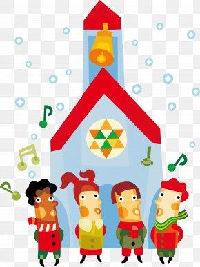 Blue Cartoon Church Kids - Christmas Carol Child Clip Art PNG