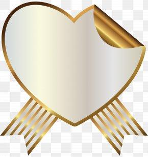 White And Gold Heart Seal With Ribbon Clipart Image - Earless Seal Ribbon Sealing Wax PNG