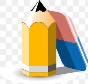 Yellow Pencil Eraser - School Student Clip Art PNG