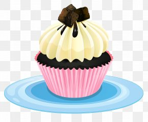 A Piece Of Chocolate On A Piece Of Cake - Cupcake Bakery Clip Art PNG