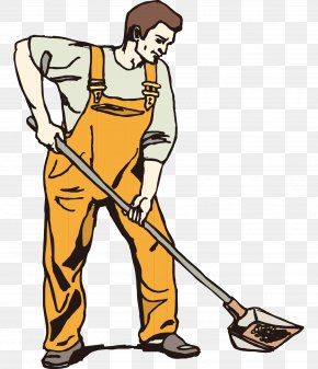 Hand-painted Cartoon Man With A Shovel Cleaning - Shovel Snow Removal Clip Art PNG