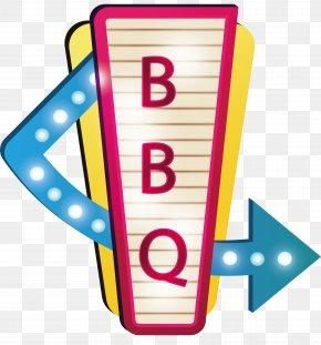 Barbecue Shop Billboard - Neon Lighting Billboard Clip Art PNG