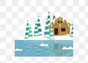 Lakeside Cabins - Lake Cartoon Poster Log Cabin PNG