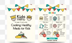 Vector Children's Menu - Menu Kids Meal Fast Food Breakfast PNG