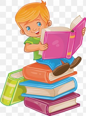 Sit In A Book, Read A Book - Child Reading Royalty-free Illustration PNG