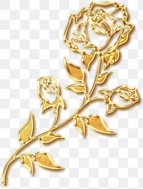 Golden Roses Silhouette - Beach Rose Gold PNG
