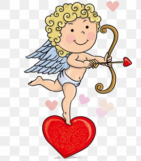 The Vector Of The Child Standing In The Heart - Cartoon Cupid Child Illustration PNG