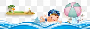Summer Vacation Swimming Background - Beach Vacation Graphic Design Illustration PNG