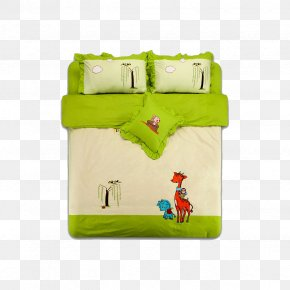 Simple Bed - Textile Bedding Green Bed Sheet PNG