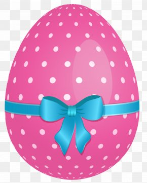 Pink Dotted Easter Egg With Blue Bow Clipart - Easter Bunny Easter Egg Pink Clip Art PNG