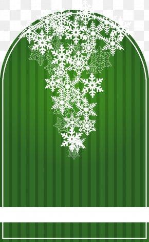 Snowflake Decoration Green Text Box Vector Material - Text Box Green Clip Art PNG