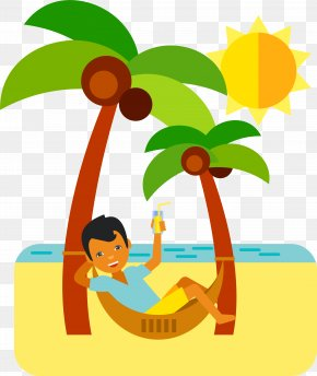 Seaside Holiday Basking In The Sun - Cartoon Vacation Clip Art PNG