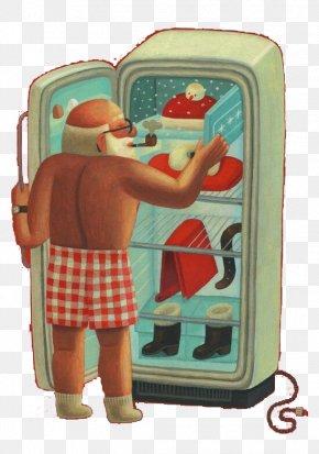 Shirtless Santa Fridge Take Things - Santa Claus Drawing Book Illustration Illustration PNG