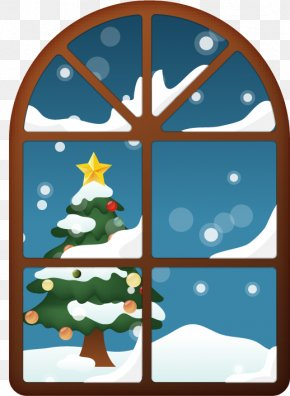 Window Vector Material Christmas Tree - Christmas Tree Computer File PNG