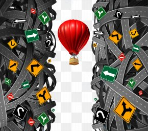 Entwined Road Hot Air Balloon - Leadership Stock Photography Businessperson Strategy PNG
