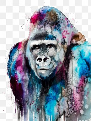 Watercolor Gorilla - Western Lowland Gorilla Watercolor Painting Art Orangutan PNG