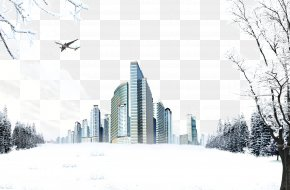 Snow Skyscrapers - Winter Snow Poster PNG