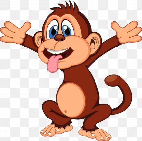 A Monkey With A Tongue - Chimpanzee Cartoon Monkey Royalty-free PNG