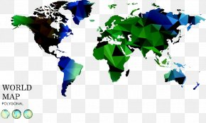 Low Polygon Map - United States India Globe World Map PNG
