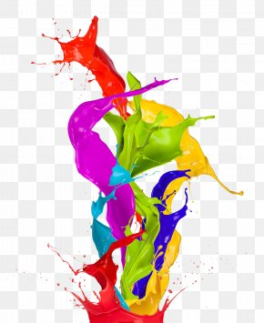 Color Splashed Painted - Paint Color Abstract Art Wallpaper PNG