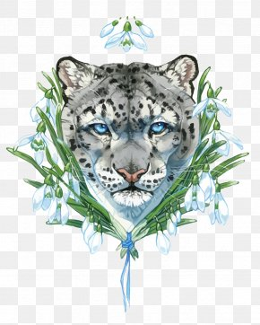 Vector Gray Leopard - Snow Leopard Tiger PNG