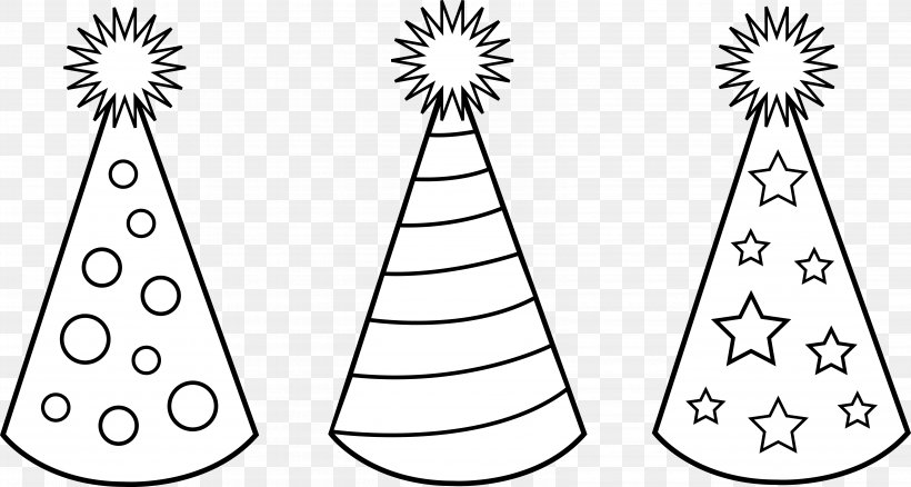 Party Hat Birthday Clip Art, PNG, 6583x3522px, Party Hat, Area, Birthday, Black And White, Cap Download Free