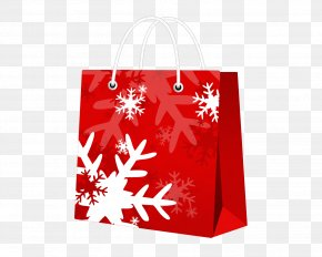 Snowflake Red Shopping Bags PNG
